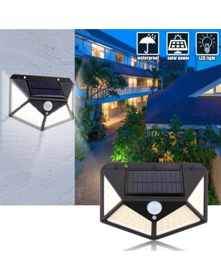 100 LED Solar Powered Light Motion Sensor Wall Yard Garden Outdoor Street Light