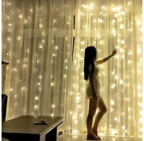18M x 3M 1800-LED Warm White Light Romantic Christmas Wedding Outdoor Decoration Curtain String Light US Standard Warm White ZA000940