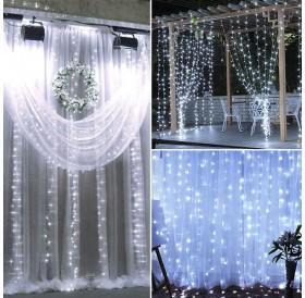 18M x 3M 1800-LED Warm White Light Romantic Christmas Wedding Outdoor Decoration Curtain String Light US Standard  White ZA000939