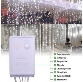 15M x 3M 1500-LED Warm White Light Romantic Christmas Wedding Outdoor Decoration Curtain String Light US Standard Warm White ZA000937