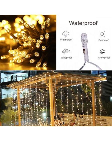 15M x 3M 1500-LED Warm White Light Romantic Christmas Wedding Outdoor Decoration Curtain String Light US Standard Warm White ZA000938