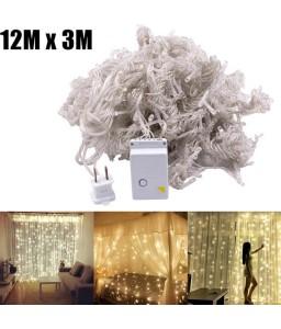 12M x 3M 1200-LED Warm White Light Romantic Christmas Wedding Outdoor Decoration Curtain String Light US Standard Warm White ZA000936