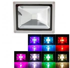 20W RGB Aluminium Alloy LED Flood Light with IP65 Waterproof & Remote Control Gray (AC 90-260V)