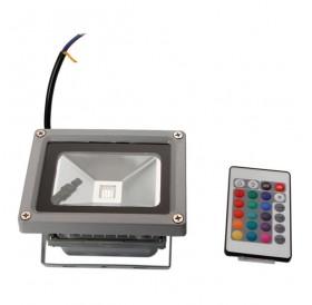 10W IP65 Waterproof RGB Aluminium Alloy LED Flood Light with Remote Control & Memory (AC 90-260V) Gr