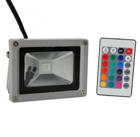 10W RGB Aluminium Alloy LED Flood Light with IP65 Waterproof & Remote Control Gray (AC 90-260V)