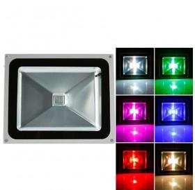 50W RGB Aluminium Alloy LED Flood Light with IP65 Waterproof & Remote Control Gray (AC 90-260V)